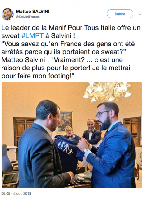 """Screenshot_2018-10-06 Matteo SALVINI sur Twitter Le leader de la Manif Pour Tous Italie offre un sweat #LMPT à Salvini """"Vou[...].png"""